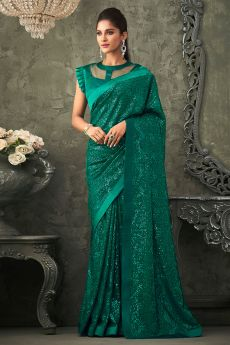 Teal Green Georgette Sequin Embellished Saree