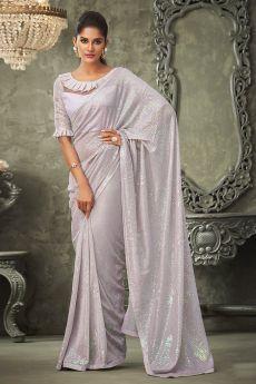 White Georgette Sequin Embellished Saree