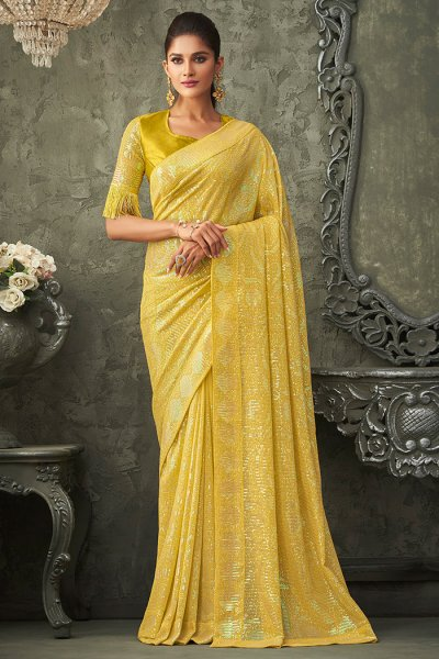 Yellow Georgette Sequin Embellished Saree