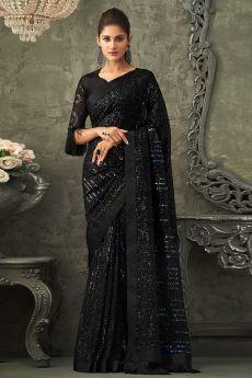 Black Georgette Sequin Embellished Saree