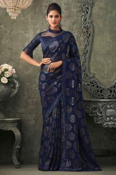 Navy Blue Georgette Sequin Embellished Saree