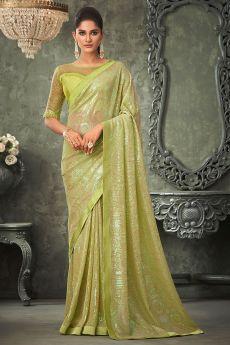 Mehendi Green Georgette Sequin Embellished Saree