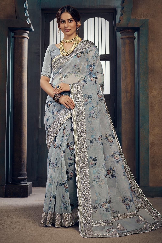 Grey Blue Floral Printed Organza Silk Saree