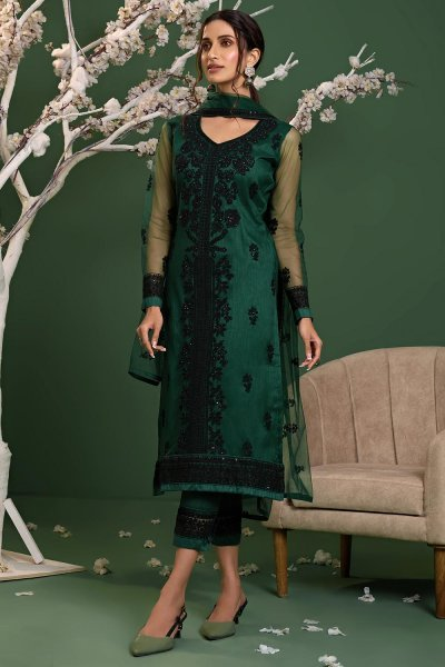 Bottle Green Net Embroidered Suit Set