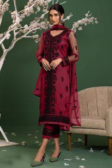 Reddish Pink Net Embroidered Suit Set
