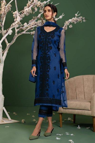 Royal Blue Net Embroidered Suit Set