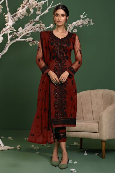 Red Net Embroidered Suit Set