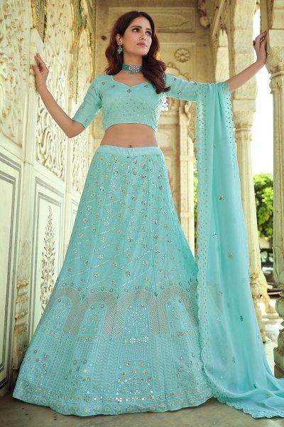 Pastel Blue Georgette Embellished Lehenga Set