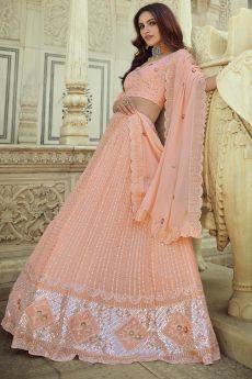 Peach Georgette Embellished Lehenga Set