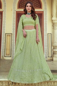 Pista Green Georgette Embellished Lehenga Set