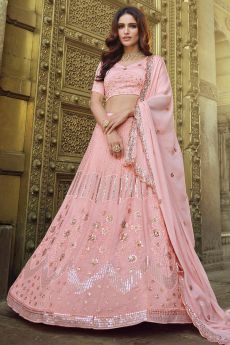 Pink Georgette Embellished Lehenga Set