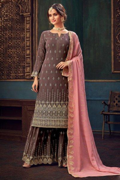Mauve Embellished Georgette Kurta Sharara Set