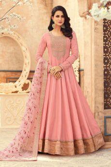 Blush Pink Silk Embroidered Anarkali Set