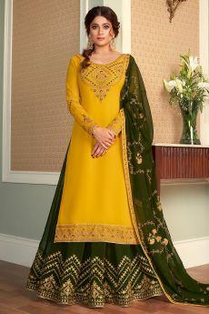 Yellow Embellished Georgette Kurta With Mehendi Green Lehenga