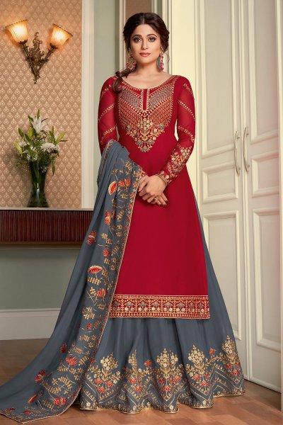 Red Embellished Georgette Kurta With Steel Blue Lehenga