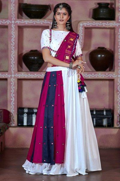 White Multi Colour Embellished Cotton Lehenga Set For Navratri