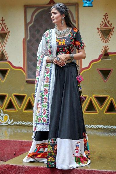 Black & White Embellished Cotton Lehenga Set For Navratri