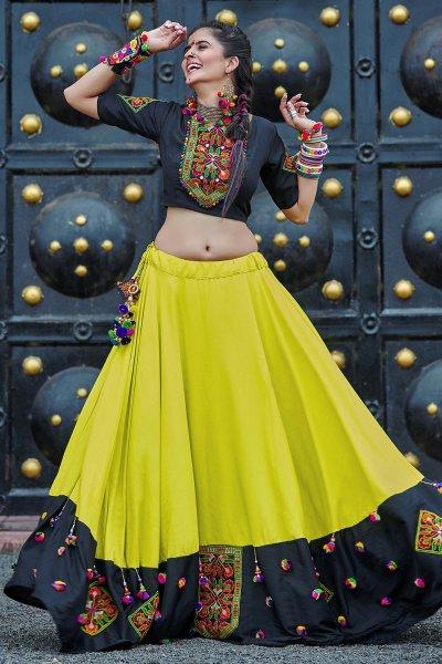 Neon Green & Black Embellished Cotton Lehenga Set For Navratri