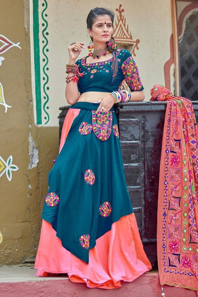 Teal Blue & Peach Embellished Cotton Lehenga Set For Navratri