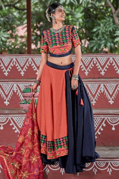 Navy Blue & Orange Embellished Cotton Lehenga Set For Navratri