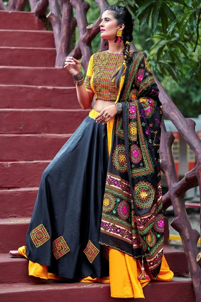 Black & yellow Embellished Cotton Lehenga Set For Navratri