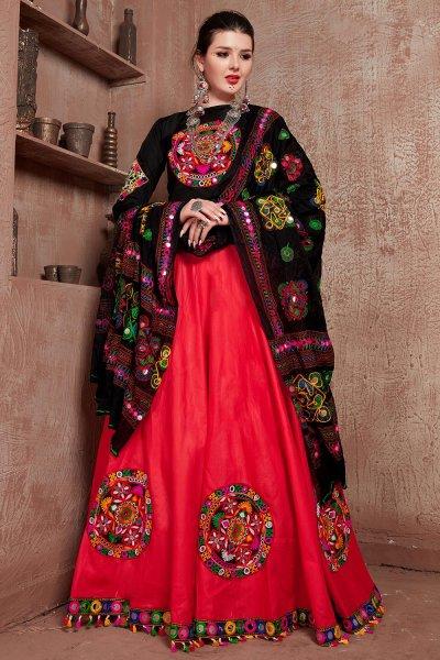 Red & Black Embellished Cotton Lehenga Set For Navratri