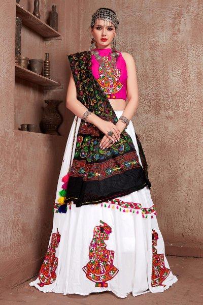 Pink & White Embellished Cotton Lehenga Set For Navratri