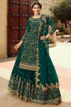 Teal Green Embellished Net Kurta With Lehenga