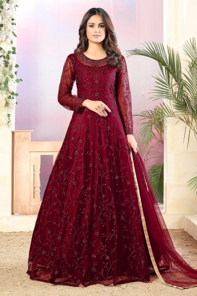 Wine Red Net Embellished Anarkali Set