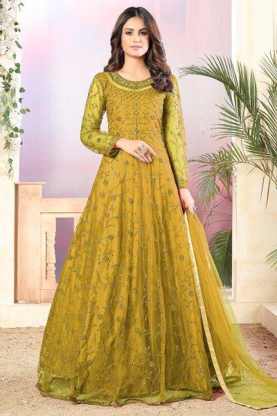 Mustard Yellow Net Embellished Anarkali Set