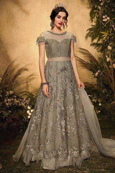 Grey Net Embellished Anarkali Suit