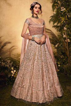 Blush Pink Net Embellished Anarkali Suit