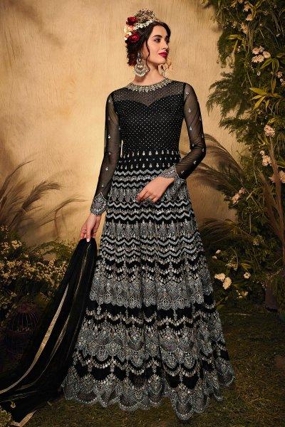 Black Net Embellished Anarkali Suit