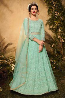 Sea Green Georgette Embellished Anarkali Suit