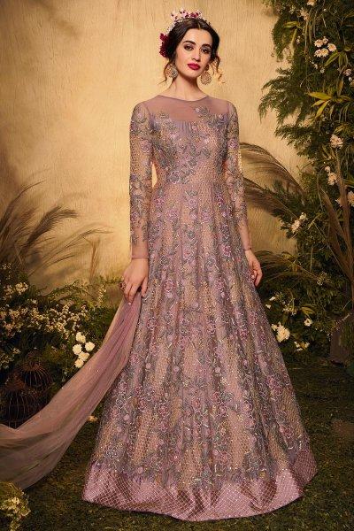 Mauve Net Embellished Anarkali Suit