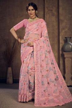 Light Pink Floral Printed Organza Silk Saree