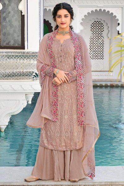 Mauve Georgette Embroidered Salwar Suit
