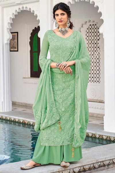Sea Green Georgette Embroidered Salwar Suit