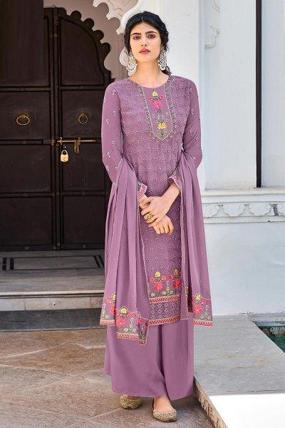 Light Purple Georgette Embroidered Salwar Suit