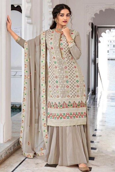 Grey Georgette Embroidered Salwar Suit