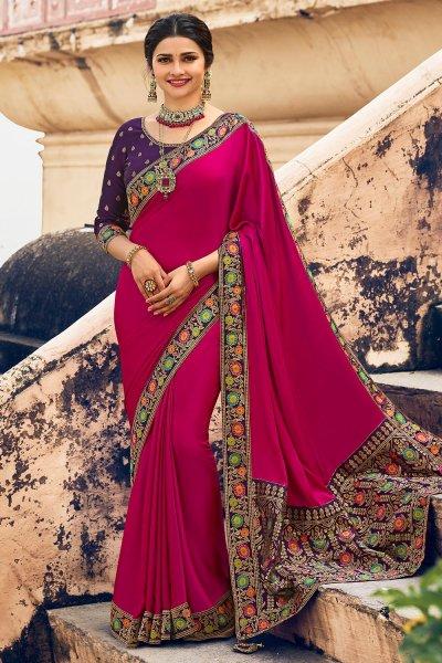 Magenta Crepe Silk Saree With Banarasi Border