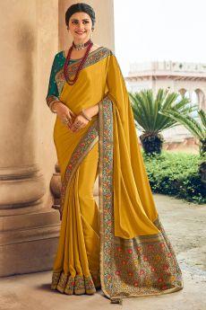 Mustard Yellow Crepe Silk Saree With Banarasi Border
