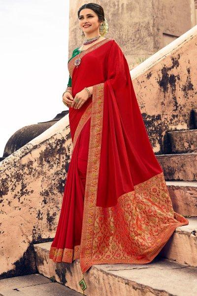 Red Crepe Silk Saree With Banarasi Border