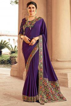 Purple Crepe Silk Saree With Banarasi Border