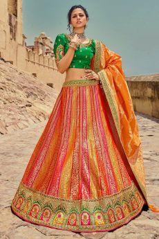 Orange & Red Jacquard Silk Embellished Lehenga