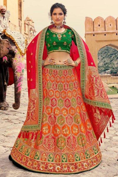 Red Jacquard Silk Embellished Lehenga