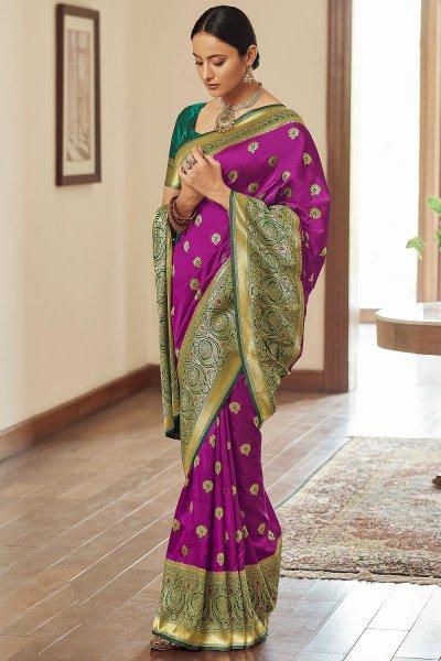 Purple Zari Weaved Banarasi Silk Saree