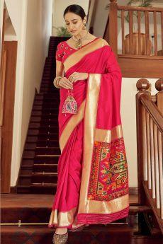 Bright Pink Zari Weaved Banarasi Silk Saree