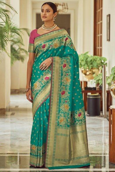 Soft Blue Zari Weaved Banarasi Silk Saree