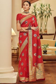 Red Zari Weaved Banarasi Silk Saree